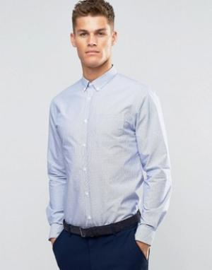 Silver Eight Белая рубашка узкого кроя из ткани добби Sliver. Цвет: синий