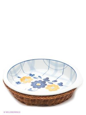 Блюдо,  1,35л Bekker. Цвет: молочный, синий