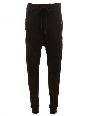 Спортивные штаны с заниженным шаговым швом 11 By Boris Bidjan Saberi. Цвет: чёрный