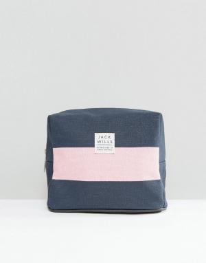Jack Wills Синяя косметичка с розовой полоской. Цвет: мульти