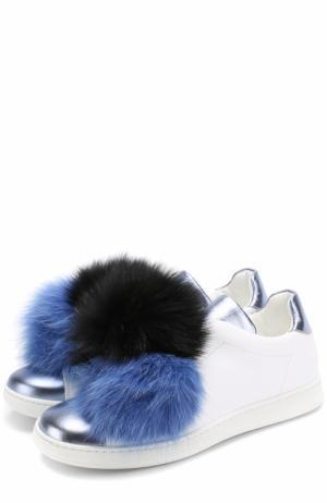 Кожаные кеды с помпоном из меха лисы Joshua Sanders. Цвет: голубой