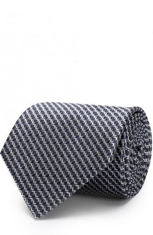 Шелковый галстук с узором Brioni. Цвет: темно-синий