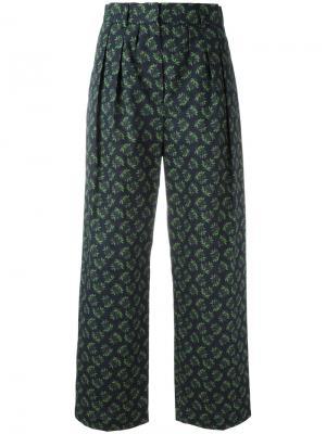 Укороченные широкие брюки Hache. Цвет: синий
