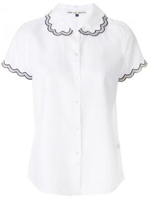 Рубашка с декорированными зазубренными краями Jupe By Jackie. Цвет: белый