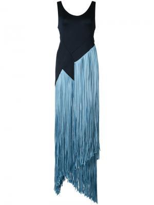 Длинное платье с бахромой Galvan. Цвет: синий