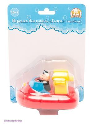 Игрушка для ванной Гонки заводные Катер Жирафики. Цвет: красный