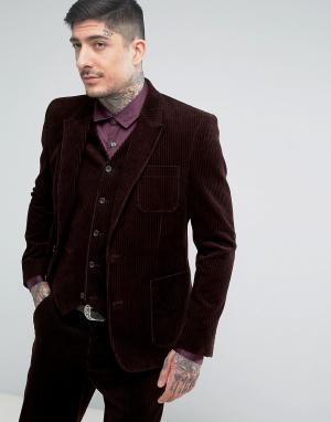 ASOS Облегающий пиджак коричневого цвета Cord. Цвет: красный