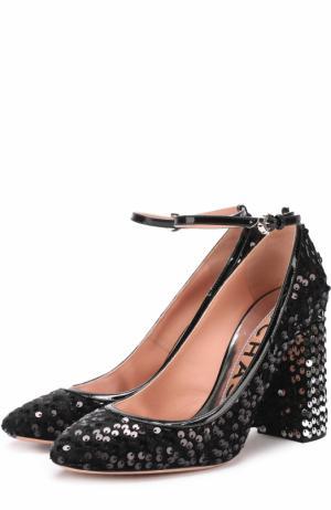 Туфли с пайетками на устойчивом каблуке Rochas. Цвет: черный