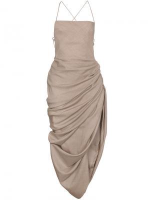 Платье с драпировкой Jacquemus. Цвет: телесный