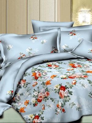 Комплект постельного белья, сатин, 2-спальный, пододеяльник на молнии, 4 наволочки Letto. Цвет: голубой, розовый