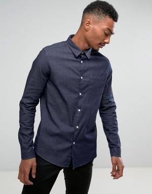 Burton Menswear Эластичная джинсовая рубашка. Цвет: синий