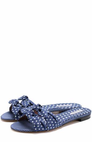 Текстильные шлепанцы с бантом и принтом Tabitha Simmons. Цвет: синий