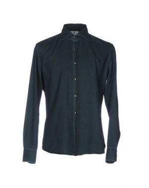 Джинсовая рубашка GIANNETTO. Цвет: темно-зеленый