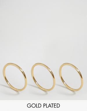 Pilgrim Набор из 3 позолоченных колец. Цвет: золотой