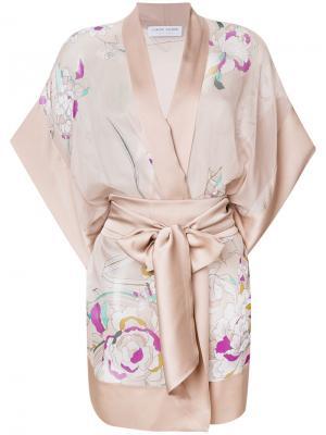 Короткое кимоно с цветочным принтом Carine Gilson. Цвет: телесный