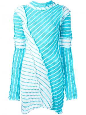 Платье мини с узором и необработанными краями Richard Malone. Цвет: синий