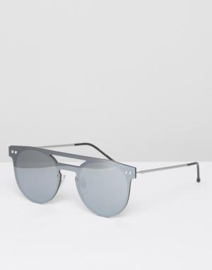Spitfire Круглые солнцезащитные очки с планкой сверху. Цвет: серебряный