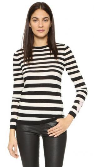 Кашемировый свитер в полоску с сердечками Bella Freud. Цвет: голубой