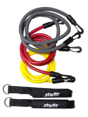 Комплект съемных эспандеров STARFIT ES-605 с ручками. Цвет: красный