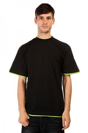Футболка  Contrast Tall Black Lime Green Urban Classics. Цвет: черный