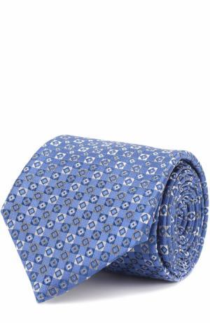 Шелковый галстук с узором Canali. Цвет: голубой