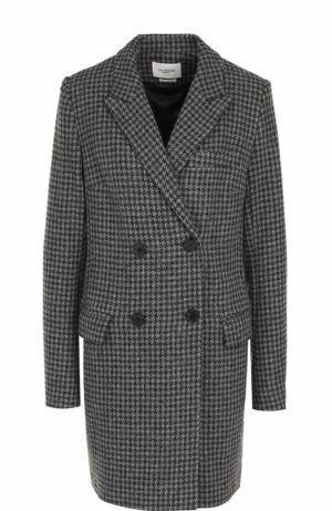 Двубортное шерстяное пальто прямого кроя Isabel Marant Etoile. Цвет: серый