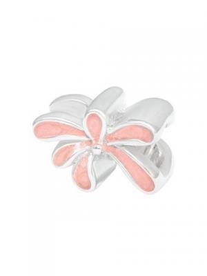 Цветок эмаль розовый Sun&Moon Charm. Цвет: серебристый