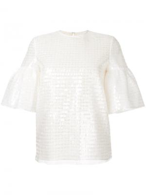 Puffed sleeve sequin top Huishan Zhang. Цвет: белый