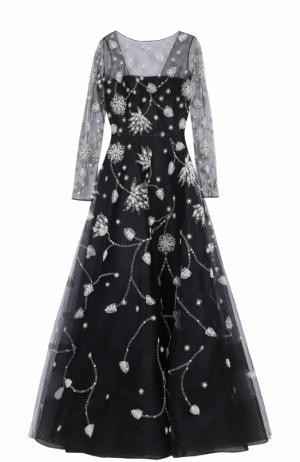 Приталенное платье-макси с длинным рукавом и контрастной вышивкой Oscar de la Renta. Цвет: черно-белый