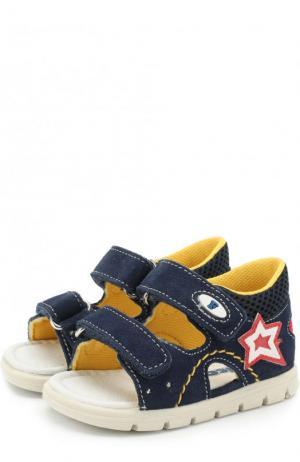 Замшевые сандалии с застежками велькро Falcotto. Цвет: синий