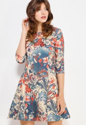 Платье oodji. Цвет: бежевый