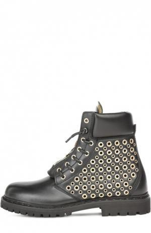 Кожаные ботинки с люверсами Balmain. Цвет: черный