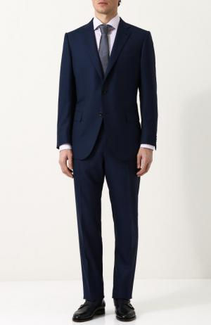 Костюм из смеси шерсти и шелка с пиджаком на двух пуговицах Ermenegildo Zegna. Цвет: темно-синий