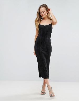 Wal G Облегающее платье миди. Цвет: черный