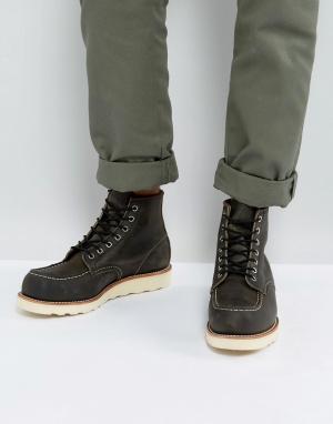 Red Wing Темно-серые кожаные ботинки 6 Inch Classic. Цвет: черный