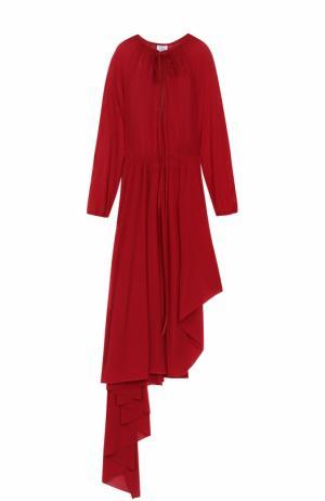 Приталенное платье-миди асимметричного кроя с укороченным рукавом Vetements. Цвет: красный