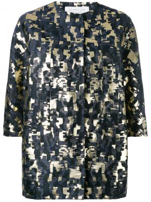 Жаккардовый пиджак с отделкой металлик Gianluca Capannolo. Цвет: синий