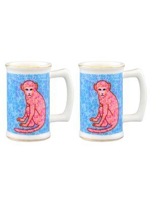 Набор из двух вазочек под зубочистки Обезьянки на удачу голубом Elan Gallery. Цвет: голубой, розовый