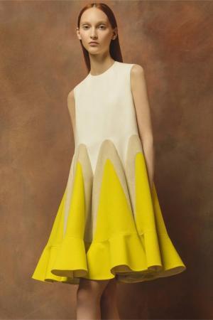Платье А-силуэта Delpozo. Цвет: белый, желтый, кремовый