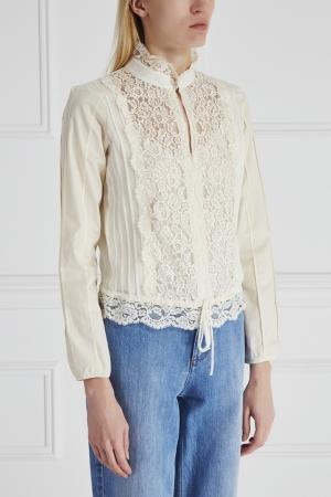 Комбинированная блузка See By Chloé. Цвет: кремовый
