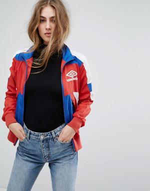 Umbro Спортивная куртка колор блок в стиле ретро на молнии. Цвет: мульти
