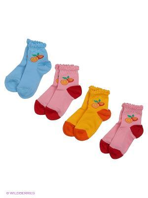 Носки, 4 пары Гамма. Цвет: розовый, желтый, голубой, сиреневый