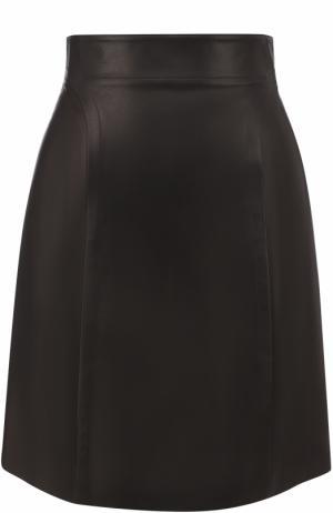 Кожаная мини-юбка Alaia. Цвет: черный