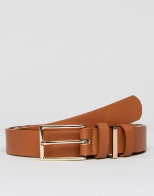 ASOS Светло-коричневый узкий кожаный ремень с тремя тренчиками. Цвет: рыжий