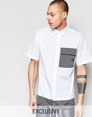 Black Eye Rags Рубашка с короткими рукавами, контрастным карманом и кромкой на завязк. Цвет: белый