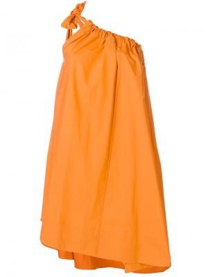 Платье на одно плечо со сборкой Ter Et Bantine. Цвет: жёлтый и оранжевый