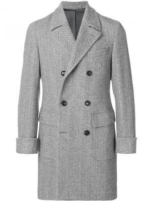 Пальто с узором елочкой Borrelli. Цвет: серый