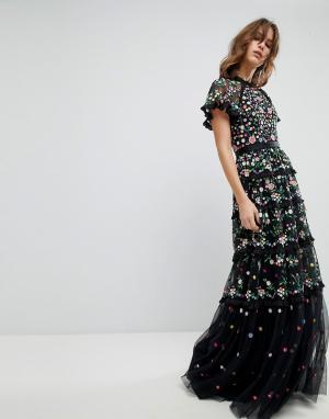 Needle & Thread Платье с цветочной вышивкой, высоким воротом и многослойной юбкой Need. Цвет: черный