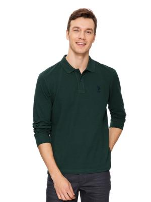 Лонгслив U.S. Polo Assn.. Цвет: зеленый, темно-зеленый