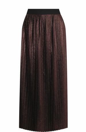 Плиссированная юбка-миди с металлизированной отделкой BOSS. Цвет: оранжевый